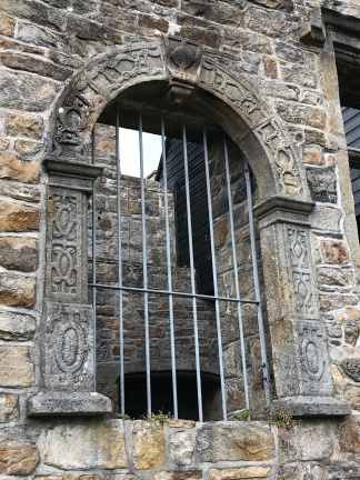 The carved second-story doorway at Donegal Castle. Originally it would have been reached by an outside staircase.